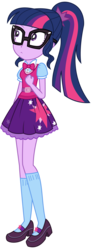 Size: 2347x6441   Tagged: safe, artist:sketchmcreations, sci-twi, twilight sparkle, eqg summertime shorts, equestria girls, leaping off the page, absurd resolution, belt, bowtie, clothes, confused, female, frown, glasses, mary janes, ponytail, sci-twi outfits, shoes, simple background, skirt, socks, solo, transparent background, vector