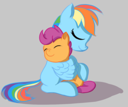 Size: 945x795 | Tagged: artist needed, safe, rainbow dash, scootaloo, pegasus, pony, cute, duo, female, hug, mlpg, scootalove, simple background, sisterly love, winghug