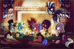 Size: 6000x4001 | Tagged: safe, artist:ruhisu, oc, oc only, oc:duo, oc:jester, oc:macabre haze, oc:mojitojoe, oc:orion shadow, oc:tek croon, oc:wild blue, earth pony, pegasus, pony, unicorn, absurd resolution, clothes, commission, fireplace, poker, poker chips, suit