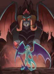 Size: 3421x4678   Tagged: safe, artist:bratzoid, dragon lord torch, princess ember, dragon, bloodstone scepter, dragon lord ember, dragoness, epic, father and daughter, female, male