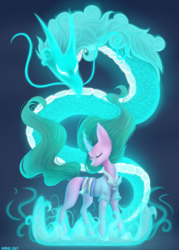 Size: 2500x3500 | Tagged: safe, artist:monogy, mistmane, chinese dragon, dragon, pony, unicorn, campfire tales, blue background, clothes, curved horn, dragon spirit, ethereal mane, eyes closed, female, glowing horn, magic, mare, simple background, solo