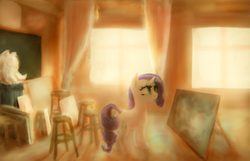 Size: 3300x2122 | Tagged: safe, artist:plotcore, rarity, pony, atg 2017, easel, female, newbie artist training grounds, solo