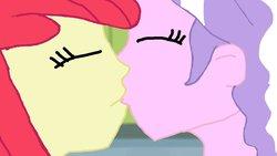 Size: 1191x670 | Tagged: safe, artist:ktd1993, apple bloom, diamond tiara, equestria girls, diamondbloom, female, kissing, lesbian, shipping