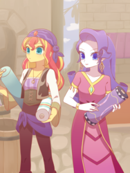 Size: 1200x1600 | Tagged: safe, artist:kkmrarar, rarity, sunset shimmer, equestria girls, movie magic, spoiler:eqg specials, alternate hairstyle, bandana, beautiful, carrying, clothes, dress, duo, duo female, female, india movie set, long hair, sunshim