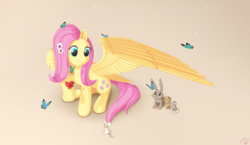 Size: 3300x1920 | Tagged: safe, artist:yunnecora, fluttershy, bird, butterfly, chipmunk, mouse, pegasus, pony, rabbit, animal, brown background, cute, female, flower, flower in hair, kindness, looking at something, looking down, mare, raised hoof, shyabetes, simple background, sitting, smiling, spread wings, wings