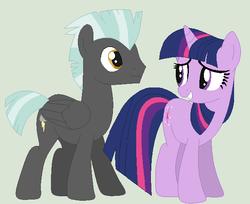 Size: 613x499 | Tagged: safe, artist:timeywimeyholmes1994, thunderlane, twilight sparkle, pegasus, pony, unicorn, crack shipping, female, male, mare, shipping, stallion, straight, twilane
