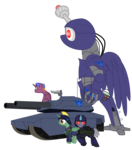 Size: 3420x3880 | Tagged: safe, artist:aaronmk, oc, oc only, alicorn, pony, robot, clothes, commission, grenade, simple background, tank (vehicle), transparent background, uniform