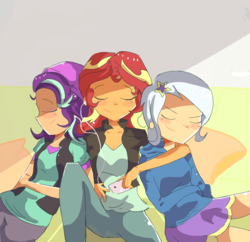 Size: 2580x2500   Tagged: safe, artist:noahther, starlight glimmer, sunset shimmer, trixie, equestria girls, beanie, breasts, cleavage, clothes, counterparts, earbuds, eyes closed, female, hat, hoodie, humanized, jacket, lesbian, mp3 player, polyamory, relaxing, shimmerglimmer, shipping, shirt, skirt, startrix, startrixset, suntrix, sweater, trio, twilight's counterparts