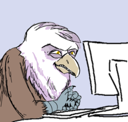 Size: 1000x952   Tagged: safe, griffon, /mlpol/, computer, greedy, griffons as jews stereotype, grin, le happy merchant, ponified meme, smiling, smirk, solo