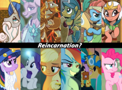 Size: 1495x1099 | Tagged: a health of information, applejack, artist:brendahickey, campfire tales, daring done?, earth pony, female, flash magnus, fluttershy, healer's mask, idw, jossed, legends of magic, luna eclipsed, male, mane six, mare, mask, meadowbrook, mistmane, netitus, pegasus, pillars of equestria, pinkie pie, pony, rainbow dash, rarity, reincarnation, rockhoof, rockhoof's shovel, safe, shield, somnambula, spoiler:comiclom1, spoiler:comiclom2, spoiler:comiclom3, spoiler:comiclom4, spoiler:comiclom5, stallion, star swirl the bearded, theory, twilight sparkle, unicorn