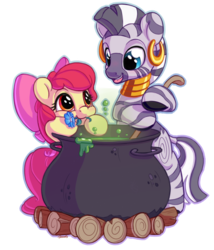 Size: 1200x1400 | Tagged: adorabloom, apple bloom, artist:bobdude0, cauldron, cute, earth pony, female, filly, flower, mouth hold, pony, safe, simple background, smiling, zebra, zecora, zecorable