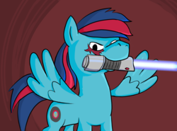 Size: 1148x851 | Tagged: abstract background, artist:cobaltsketch, cutie mark, lightsaber, multicolored hair, oc, oc:kaevorrvector, oc only, pegasus, pony, safe, scar, scowl, solo, star wars, twilight sparkle's secret shipfic folder, weapon
