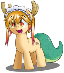 Size: 1257x1442 | Tagged: safe, artist:sykobelle, dracony, hybrid, pony, crossover, cute, cute little fangs, fangs, kobayashi-san chi no maid dragon, miss kobayashi's dragon maid, ponified, simple background, solo, tohru, transparent background
