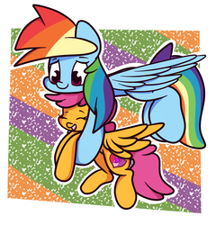 Size: 2310x2408 | Tagged: safe, artist:hedgehog-plant, rainbow dash, scootaloo, pegasus, pony, abstract background, carrying, cute, cutealoo, dashabetes, duo, female, filly, flying, holding a pony, mare, scootalove, smiling