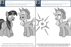 Size: 1204x800 | Tagged: applejack, applestuck, artist:dekomaru, ask, faic, grayscale, implied appledash, implied lesbian, implied shipping, monochrome, pony, safe, scrunchy face, teleportation, tumblr, tumblr:ask twixie, twilight sparkle