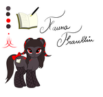 Size: 1700x1600 | Tagged: safe, artist:thepianistmare, edit, oc, oc only, oc:fauna franklin, bow, commission, fishnets, red and black oc, reference sheet, sfw edit