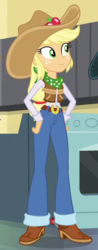 Size: 230x585 | Tagged: applejack, belt, belt buckle, boots, clothes, cowboy boots, cowboy hat, cowgirl, cowgirl outfit, cropped, dance magic, equestria girls, female, freckles, hat, imagine spot, jeans, outfit, pants, safe, screencap, shoes, solo, spear, spoiler:eqg specials, stetson, weapon