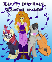 Size: 3567x4232 | Tagged: adagio dazzle, artist:cyber-murph, boots, clothes, equestria girls, glasses, happy birthday, jewelry, kazumi evans, moondancer, octavia melody, pendant, rainbow rocks, safe, shoes, sweater, tribute, voice actor