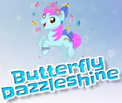 Size: 973x824 | Tagged: safe, oc, oc only, oc:butterfly dazzleshine, butterfly, earth pony, pony, my little pony: the movie, bow, bracelet, cutie mark, ear piercing, flower, flower in hair, hair bow, happy, jewelry, male, mlp movie pony maker, piercing, rainbow, smiling, solo, sparkles, tail bow, tiara