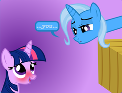 Size: 892x680 | Tagged: safe, artist:navitaserussirus, trixie, twilight sparkle, blushing, comic, cropped, female, lesbian, long neck, shipping, twixie