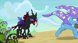 Size: 1280x720 | Tagged: safe, screencap, pharynx, trixie, changeling, pony, to change a changeling