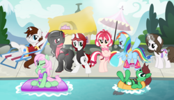 Size: 2730x1575 | Tagged: safe, artist:nxzc88, rainbow dash, oc, oc:cherry blossom, oc:miles, oc:northern haste, oc:pyrisa miracles, oc:rubbergrip, oc:siram cotoran, oc:southern hustle, oc:spectral wind, pony, assisted exposure, bikini, bondage, chillaxing, clothes, embarrassed, embarrassed nude exposure, encasement, female, group picture, ice, magic abuse, mare, midriff, nudity, one-piece swimsuit, relaxing, rule 63, stripped by magic, swimming pool, swimsuit, the legend of zelda, undressing, we don't normally wear clothes
