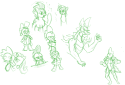 Size: 1216x832   Tagged: safe, artist:php63, rarity, spike, twilight sparkle, dragon, pony, unicorn, adult, adult spike, female, male, monochrome, older, older spike, ponified spike, shipping, sketch, sparity, straight