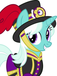 Size: 1665x2218 | Tagged: dead source, safe, artist:charity-rose, cornetta, pony, unicorn, background pony, clothes, female, hat, mare, simple background, smiling, solo, transparent background, uniform, vector