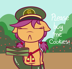 Size: 1250x1200 | Tagged: dead source, safe, artist:radek1212, scootaloo, pegasus, pony, :<, alternate hairstyle, clothes, cute, cutealoo, eyes closed, female, filly, filly guides, floppy ears, hoof hold, pigtails, socks, solo