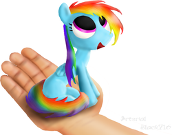 Size: 981x770 | Tagged: safe, artist:arterialblack716, rainbow dash, pegasus, pony, atg 2016, cute, female, filly, hand, in goliath's palm, looking up, micro, newbie artist training grounds, open mouth, signature, simple background, sitting, smiling