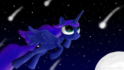 Size: 1600x900 | Tagged: safe, artist:arterialblack716, princess luna, alicorn, pony, atg 2016, female, flying, looking up, mare, moon, newbie artist training grounds, night, shooting stars, signature, smiling, spread wings, stars, windswept mane, wings