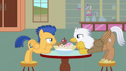 Size: 4442x2500   Tagged: safe, artist:peternators, flash sentry, oc, oc:silver quill, classical hippogriff, hippogriff, pegasus, pony, bedroom eyes, canon x oc, food, gay, ice cream, looking at each other, male, shipping, stallion