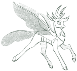 Size: 1568x1455   Tagged: safe, artist:anjevalart, pharynx, changedling, changeling, cloven hooves, grayscale, looking at you, monochrome, prince pharynx, raised hoof, simple background, smiling, solo, spread wings, white background, wings