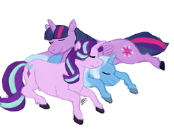 Size: 1280x960   Tagged: safe, artist:sarcastictrixie, starlight glimmer, trixie, twilight sparkle, alicorn, pony, unicorn, eyes closed, female, lesbian, polyamory, shipping, sleeping, startrix, trio, twilight sparkle (alicorn), twistarlight, twixie, twixstar
