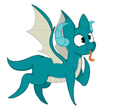Size: 1463x1312 | Tagged: artist:paskanaakka, derpibooru exclusive, dracony, forked tongue, hybrid, oc, oc only, oc:puppy love, safe, simple background, solo, style emulation, tongue out, transparent background