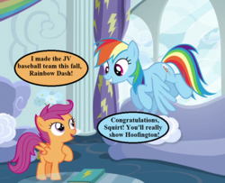 Size: 800x650 | Tagged: safe, edit, edited screencap, screencap, rainbow dash, scootaloo, the cart before the ponies, baseball, cropped, rainbow dash's house, scootaloo will show us games to play, speech bubble, sports