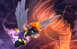 Size: 2400x1520 | Tagged: safe, artist:yakovlev-vad, oc, oc only, oc:blaze (shadowbolt), pegasus, pony, clothes, commission, costume, fire, flying, lightning, patreon reward, shadowbolts, shadowbolts costume, solo focus, spread wings, tornado, wings