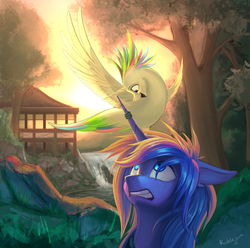 Size: 2968x2941   Tagged: safe, artist:rublegun, princess celestia, princess luna, alicorn, bird, pony, birdified, eye contact, female, floppy ears, frown, gritted teeth, looking at each other, looking up, mare, nature, open mouth, river, s1 luna, scenery, scenery porn, shocked, signature, smiling, species swap, spread wings, tree, waterfall, wide eyes, wings, worried