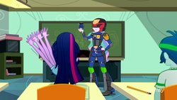 Size: 900x506 | Tagged: safe, artist:pixelkitties, edit, edited screencap, screencap, captain planet, princess celestia, principal celestia, sci-twi, twilight sparkle, phoenix, eqg summertime shorts, equestria girls, subs rock, armor, badge, canterlot high, classroom, clothes, excited, female, grenade, i am the law, judge dredd, judge dreddlestia, male, parody, symbol, we couldn't fit it all in, weapon, welcome princess celest