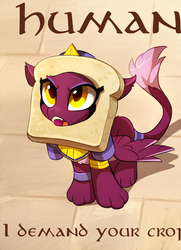 Size: 740x1024 | Tagged: safe, artist:tomatocoup, edit, sphinx (character), sphinx, daring done?, behaving like a cat, bread, bread head, breading, cat breading, cropped, cute, diabetes, female, food, irony, kitty sphinx, meme, pun, sitting, solo, sphinxdorable, sweet dreams fuel, uncial script, visual pun