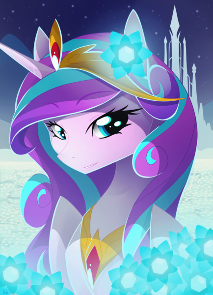 Size: 1024x1414 | Tagged: alicorn, artist:basykail, beautiful, bust, crown, crystal empire, cute, featured image, female, flower, flurrybetes, glow, grin, hair ornament, jewelry, lidded eyes, looking at you, mare, older, older flurry heart, pony, portrait, princess flurry heart, regalia, safe, smiling, solo, tiara, wings