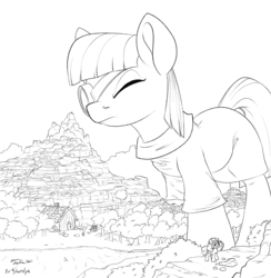 Size: 1200x1230 | Tagged: safe, artist:tsitra360, maud pie, pinkie pie, earth pony, pony, clothes, dress, duo, female, giant pony, house, macro, magnifying glass, mare, monochrome, mountain, mouth hold, one eye closed, pickaxe, river, size difference, tree
