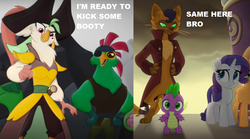Size: 1137x634 | Tagged: safe, edit, edited screencap, screencap, applejack, boyle, capper dapperpaws, captain celaeno, mullet (character), rarity, spike, anthro, cat, digitigrade anthro, dragon, parrot pirates, pony, unicorn, my little pony: the movie, anthro with ponies, basalt beach, capperity, clothes, coat, cropped, eyepatch, female, male, mare, pirate, trailer