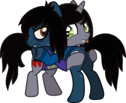 Size: 1060x869 | Tagged: angry, artist:lightningbolt, bags under eyes, bipedal, bipedal leaning, bloodshot eyes, bring me the horizon, butt touch, clothes, colored pupils, derpibooru exclusive, disguised siren, drop dead clothing, earth pony, fangs, gay, glascow smile, hoof on butt, horn, hug, kellin quinn, leaning, long sleeved shirt, looking at each other, male, oliver sykes, plot, ponified, pony, safe, scar, shipping, shirt, simple background, sleeping with sirens, slit eyes, smile. tattoo, stallion, stitches, svg, .svg available, tongue out, transparent background, trap, t-shirt, undead, unicorn, vector, zombie, zombie pony
