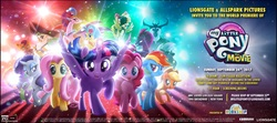Size: 1875x833   Tagged: safe, applejack, capper dapperpaws, captain celaeno, fluttershy, grubber, pinkie pie, princess skystar, queen novo, rainbow dash, rarity, songbird serenade, spike, storm king, tempest shadow, twilight sparkle, abyssinian, alicorn, dragon, earth pony, pegasus, pony, seapony (g4), unicorn, anthro, my little pony: the movie, advertisement, anthro with ponies, broken horn, contest, contest entry, early screening, female, headworn microphone, horn, mane seven, mane six, mare, movie, my little pony logo, new york, new york city, september, twilight sparkle (alicorn)