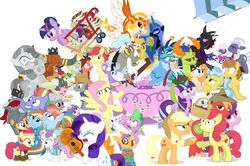 Size: 1182x785 | Tagged: safe, artist:dm29, angel bunny, applejack, big macintosh, bow hothoof, bright mac, chipcutter, daybreaker, discord, doctor fauna, feather bangs, flash magnus, fluttershy, hoity toity, maud pie, mistmane, nightmare moon, pear butter, pharynx, photo finish, pinkie pie, prince rutherford, princess ember, princess flurry heart, rainbow dash, rarity, rockhoof, scootaloo, spike, starlight glimmer, strawberry sunrise, sugar belle, sweetie belle, thorax, trixie, twilight sparkle, whammy, wild fire, windy whistles, alicorn, changedling, changeling, dragon, earth pony, pegasus, pony, unicorn, a flurry of emotions, a royal problem, all bottled up, campfire tales, celestial advice, discordant harmony, fame and misfortune, fluttershy leans in, forever filly, hard to say anything, honest apple, not asking for trouble, parental glideance, rock solid friendship, the perfect pear, to change a changeling, triple threat, spoiler:s07e14, alternate hairstyle, anger magic, ballerina, basket, bottled rage, brightbutter, camera, cinnamon nuts, clothes, colt, cup, dragon lord ember, equestrian pink heart of courage, female, filly, food, friendship journal, guitar, heart, heart eyes, helmet, hug, jalapeno red velvet omelette cupcakes, king thorax, kite, magic, male, mare, mini twilight, mining helmet, muffin, pancakes, pineapple, pizza costume, pizza head, piñata, rainbow dash's parents, reformed four, shipping, shopping cart, simple background, stallion, statue, stingbush seed pods, straight, strawberry, sugarmac, teacup, that pony sure does love kites, that pony sure does love teacups, the meme continues, the story so far of season 7, this isn't even my final form, tutu, twilarina, twilight sparkle (alicorn), uniform, wall of tags, white background, why i'm creating a gown darling, windyhoof, wingding eyes, wonderbolts uniform