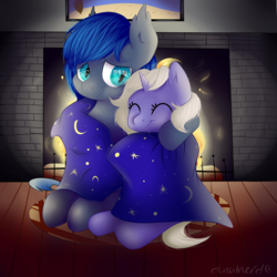 Size: 2000x2000 | Tagged: artist:donutnerd, bat pony, blanket, cute, female, fireplace, happy, male, oc, oc:lunar frost, oc:moonbow, oc only, safe, size difference, snuggling, unicorn