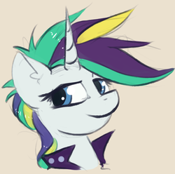 Size: 729x722 | Tagged: safe, artist:marsminer, rarity, pony, unicorn, it isn't the mane thing about you, alternate hairstyle, female, mare, raripunk, solo, that was fast