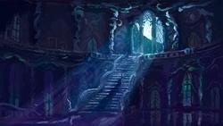 Size: 1279x720 | Tagged: safe, artist:plainoasis, princess luna, alicorn, pony, canterlot, castle, crepuscular rays, female, full moon, mare, moon, moonlight, night, scenery, solo, stairs