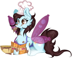 Size: 1404x1132   Tagged: safe, artist:woonborg, oc, oc only, oc:lucy, pony, apron, baking, batter, book, bowl, cheek fluff, chef's hat, chest fluff, clothes, cookbook, ear fluff, female, food, hat, mare, mouth hold, prone, simple background, smiling, solo, spoon, transparent background